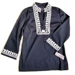 NEW Dana Buchman tunic black white embroidery L